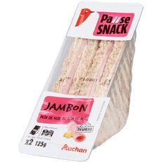 Auchan Sandwich club pain complet jambon beurre 125g