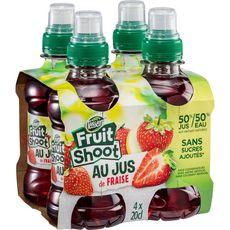 TEISSEIRE Fruit shoot boisson au jus de fraise bouteilles 4x20cl