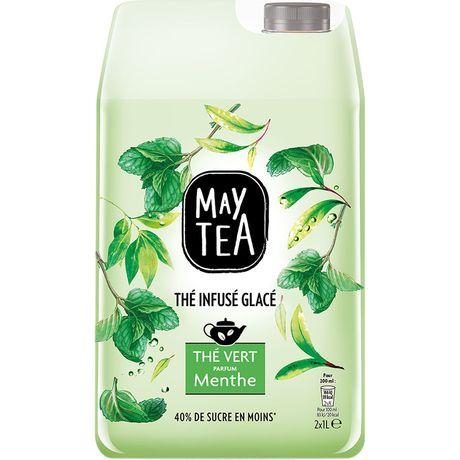 May Tea Thé infusé glacé thé vert parfum menthe les 2 bouteilles de 1 l