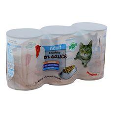 AUCHAN Boîtes pâtée aux poissons pour chat 3x400g