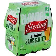 AUCHAN BIO Bière blonde sans gluten bio 5,5% bouteilles 6x25cl