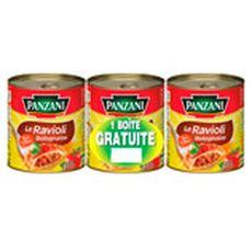 PANZANI Ravioli à la sauce bolognaise 3x800g dont 1 offert