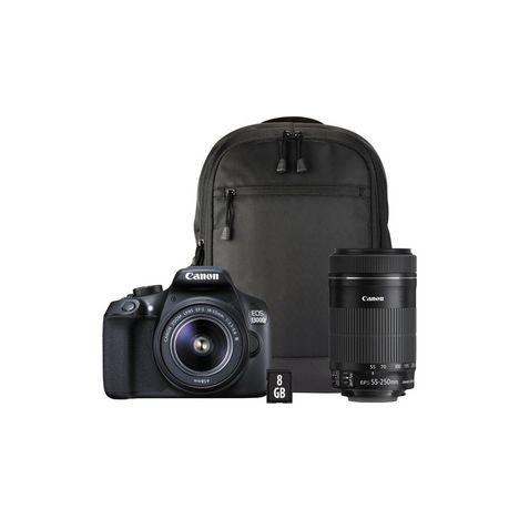 appareil photo reflex eos 1300d noir objectif 18 55 mm objectif 55 250 mm sac dos. Black Bedroom Furniture Sets. Home Design Ideas