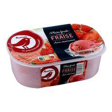 AUCHAN Sorbet fraise avec morceaux 650g