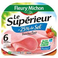 Fleury Michon jambon supérieur -25% de sel 6 tranches 180g