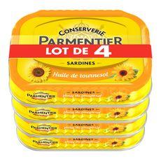 PARMENTIER Sardines à l'huile de tournesol 4x135g