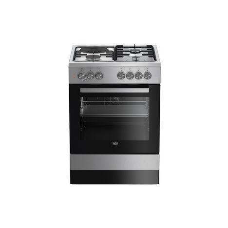 BEKO Cuisinière mixte FSE63120DXC - 60 cm, 3 Foyers gaz et 1 Foyer Electrique, Four Multifonction