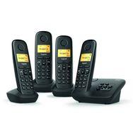 GIGASET Téléphone fixe sans fil - Répondeur - Ecran rétroéclairé - Noir - AL370A