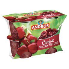 ANDROS Dessert de fruit de cerise avec morceaux 4x100g