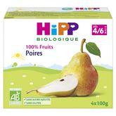 HiPP Hipp Petit pot dessert poires bio dès 4 mois 4x100g