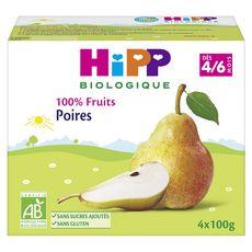 Hipp Petit pot dessert poires bio dès 4 mois 4x100g