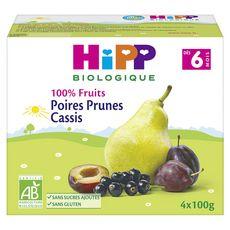 HIPP Hipp bio 100% fruits poires prunes cassis 4x100g dès 6mois