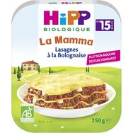 Hipp bio lasagnes bolognaise assiette 250g dès 15 mois