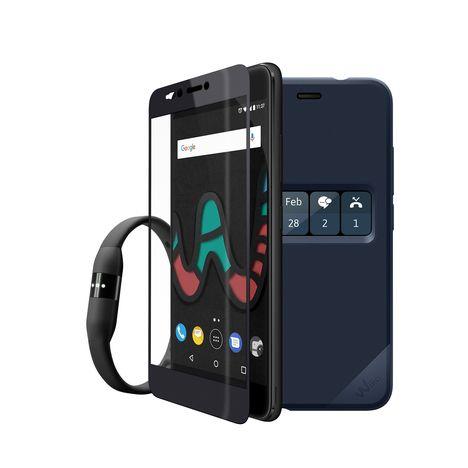 WIKO Smartphone - Pack Upulse Lite+ Etui Folio Bleu - 32 Go - 5.2 pouces - Noir - Double SIM - 4G