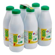 Auchan bio lait écrémé bouteille 6x1l