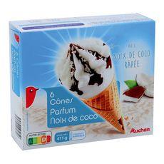 AUCHAN Cône glacé à la noix de coco 6 pièces 411g