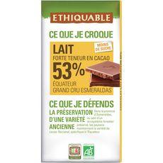 Ethiquable équateur chocolat bio au lait 53% cacao bio 100g