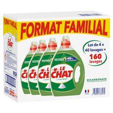 Le Chat Lessive liquide au bicarbonate format familial 160 lavages 4x2l