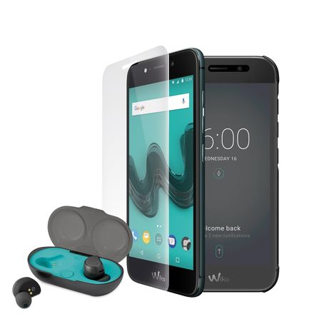 WIKO Pack WIM Lite comprenant un smartphone, des oreillettes, un étui folio et un verre trempé  - 32 Go - 5 pouces - Vert - Double Sim - 4G
