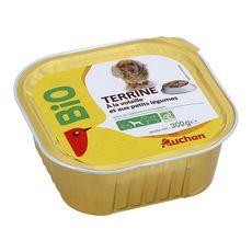 AUCHAN BIO Barquette terrine à la volailles légumes bio pour chien 300g