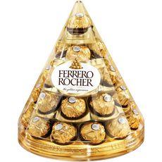 FERRERO Cône Rocher fines gaufrettes chocolat lait et noisettes boîte 28 pièces 350g