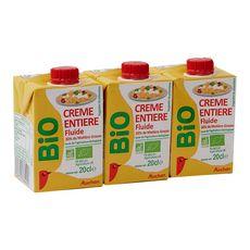 Auchan bio crème entière liquide 30%matière grasse 3x20cl