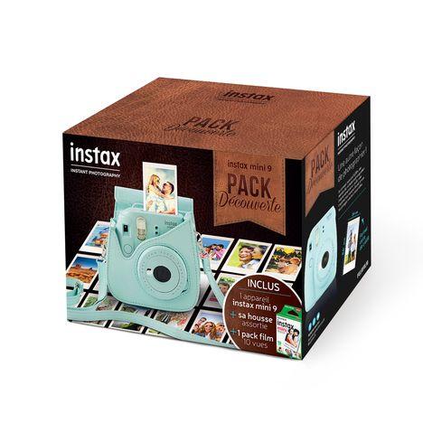 FUJIFILM Pack Découverte Appareil Photo Instantané - Instax Mini 9 - Bleu Givré