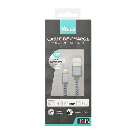 TNB CBLSON1 - Câble USB/Lightning -Noir et Gris