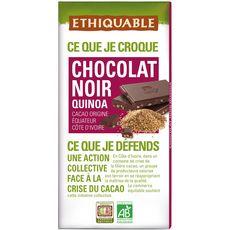Ethiquable Tablette de chocolat noir bio équitable au quinoa 100g