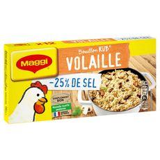MAGGI Bouillon de volaille -25% de sel fabriqué en France 12 tablettes 120g
