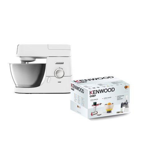 KENWOOD Lot robot pâtissier blanc KVC3100W + 3 accessoires KAM353ME