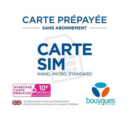 carte prépayée bouygues telecom Carte SIM Prépayée Sans Abonnement BOUYGUES pas cher à prix Auchan