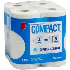 Auchan Essuie-tout blanc compact super absorbant x4