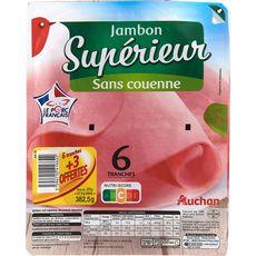 AUCHAN Auchan Jambon supérieur sans couenne 6 tranches + 3 offertes 382,5g 9 tranches 382,5g