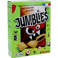 AUCHAN Jumblies céréales goût chocolat noisette 375g