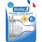 Dodie Dodie Tétine de biberon initiation+ 3 vitesses débit 2 dès 6 mois x2