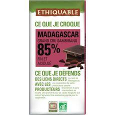 Ethiquable Tablette de chocolat noir bio de Madagascar 85% 100g
