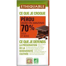 Ethiquable Tablette de chocolat noir bio 70% cacao Pérou grand cru 100g