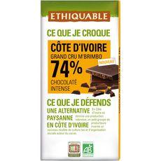 Ethiquable Tablette de chocolat noir bio 74% Côte d'Ivoire grand cru 100g