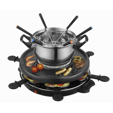 TEAM KALORIK Raclette gril fondue TKG RAC 1010 FO, 6 personnes