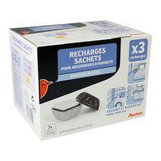 AUCHAN Auchan Recharges sachets absorbdeurs d'humidité x3 3 pièces