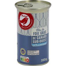 AUCHAN Bloc de foie gras avec 30% de morceaux de canard IGP du Sud-Ouest  350g