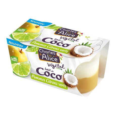 Charles et Alice végétal coco sur lit pomme citron 2x115g