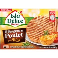 ISLA DELICE Burger halal de poulet rôti 8 pièces 640g