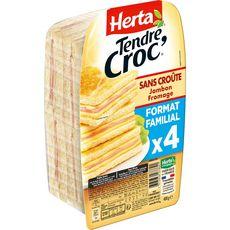 HERTA Tendre Croc' croque monsieur sans croûte jambon fromage 4 pièces 400g