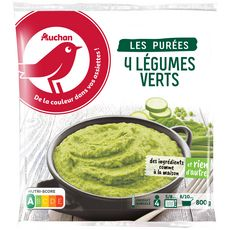 AUCHAN Purée aux 4 légumes verts 4 portions 800g