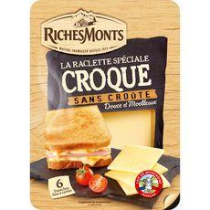 RICHESMONTS Fromage raclette nature pour croque-monsieur 6 tranches 140g