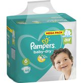 Pampers couches baby dry mega 16/26kg x68 taille6