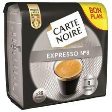CARTE NOIRE Expresso N°8 Dosettes de café moulu compatible Senseo 36 dosettes 250g