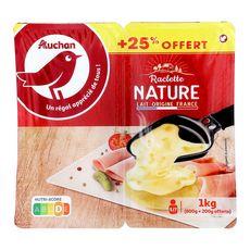 AUCHAN Raclette nature tranche 800g +25%offert 1kg